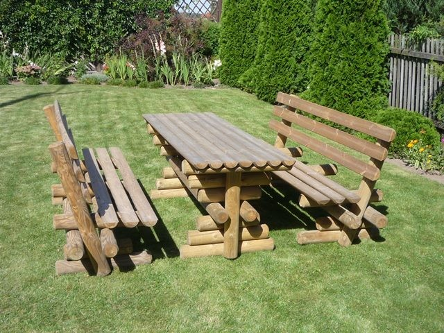 Garden Log Bench And Table With Backrest Mm Long - Picnic table with backrest
